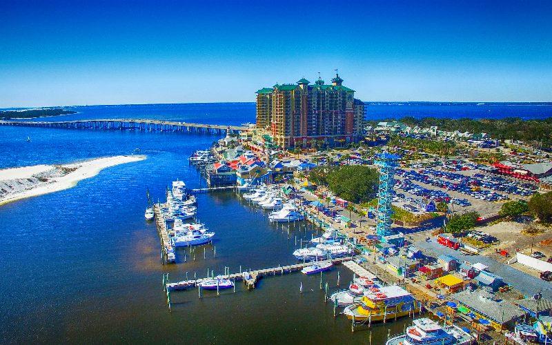 destin harborwalk village aerial view